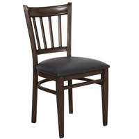 Lancaster Table & Seating Spartan Series Metal Slat Back Chair with Walnut Wood Grain Finish and Black Vinyl Seat - Detached Seat
