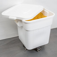 Continental 9332 32 Gallon / 510 Cup White Flat Top Mobile Ingredient Storage Bin with Snap-On Lid