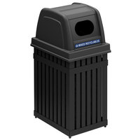 Commercial Zone 72700199 ArchTec Parkview 25 Gallon Black Rectangular Trash / Recycling Receptacle with Decals