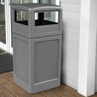 Commercial Zone 73290399 PolyTec 42 Gallon Square Gray Waste Container and Dome Lid Set