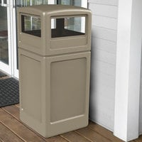 Commercial Zone 73290299 PolyTec 42 Gallon Square Beige Waste Container and Dome Lid Set