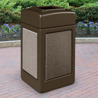 Commercial Zone 720355 StoneTec 42 Gallon Brown Trash Receptacle with Riverstone Panels