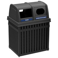 Commercial Zone 72720199 ArchTec Parkview 50 Gallon Black Rectangular Double Trash / Recycling Receptacle with Decals