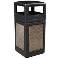 Commercial Zone 72045299 StoneTec 42 Gallon Black Square Trash Receptacle with Riverstone Panels and Dome Lid