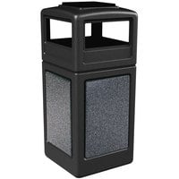 Commercial Zone 72051399 StoneTec 42 Gallon Black Square Trash Receptacle with Pepperstone Panels and Ashtray Dome Lid
