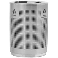 Commercial Zone 782429 Precision 40 Gallon Round Grand Recycler Stainless Steel Trash / Recycling Receptacle