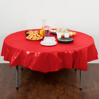 Creative Converting 703548 82 inch Classic Red OctyRound Disposable Plastic Table Cover