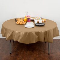 Creative Converting 703276 82 inch Glittering Gold OctyRound Disposable Plastic Table Cover