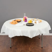 Creative Converting 703264 82 inch Ivory OctyRound Disposable Plastic Table Cover