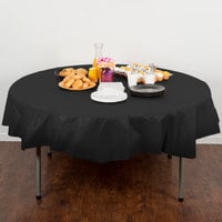 Creative Converting 703260 82 inch Black Velvet OctyRound Disposable Plastic Table Cover