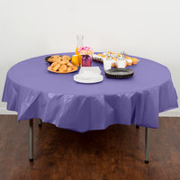Creative Converting 703268 82 inch Purple OctyRound Disposable Plastic Table Cover