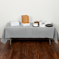 Creative Converting 710236B 54 inch x 108 inch Shimmering Silver Tissue / Poly Table Cover