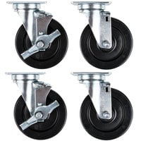 Vulcan and Wolf Equivalent 5 inch Replacement Swivel Plate Casters   - 4/Set