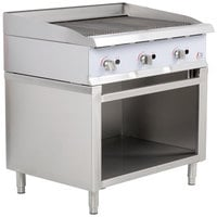 Cooking Performance Group 36CBLSBNL 36 inch Gas Lava Briquette Charbroiler with Cabinet Base - 120,000 BTU