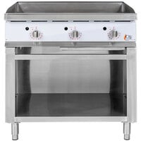 Cooking Performance Group 36GTSBNL 36 inch Gas Griddle with Flame Failure Protection, Thermostatic Controls, and Cabinet Base - 90,000 BTU