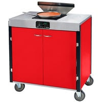 Lakeside 2065RD Creation Express Mobile Cooking Cart with 1 Induction Burner, 1 Filtration Unit, and Red Laminate Finish - 22 inch x 34 inch x 40 1/2 inch