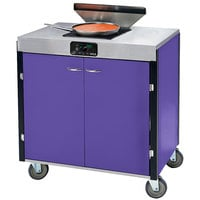 Lakeside 2065P Creation Express Mobile Cooking Cart with 1 Induction Burner, 1 Filtration Unit, and Purple Laminate Finish - 22 inch x 34 inch x 40 1/2 inch