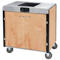 Lakeside 2065HRM Creation Express Mobile Cooking Cart with 1 Induction Burner, 1 Filtration Unit, and Hard Rock Maple Laminate Finish - 22 inch x 34 inch x 40 1/2 inch