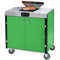 Lakeside 2065G Creation Express Mobile Cooking Cart with 1 Induction Burner, 1 Filtration Unit, and Green Laminate Finish - 22 inch x 34 inch x 40 1/2 inch