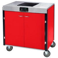 Lakeside 2060RD Creation Express Mobile Cooking Cart with 1 Induction Burner, No Exhaust Filtration, and Red Laminate Finish - 22 inch x 34 inch x 35 1/2 inch