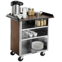 Lakeside 678W Stainless Steel Beverage Service Cart with 3 Shelves and Walnut Vinyl Finish - 40 3/4 inch x 24 inch x 38 1/4 inch
