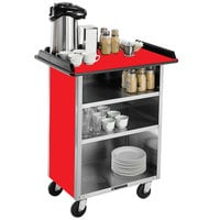 Lakeside 636RD Stainless Steel Beverage Service Cart with 3 Shelves and Red Laminate Finish - 30 1/4 inch x 21 inch x 38 1/4 inch