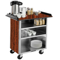 Lakeside 678VC Stainless Steel Beverage Service Cart with 3 Shelves and Victorian Cherry Laminate Finish - 40 3/4 inch x 24 inch x 38 1/4 inch