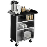 Lakeside 681B Stainless Steel Beverage Service Cart with 3 Shelves and Black Laminate Finish - 58 3/8 inch x 24 inch x 38 1/4 inch