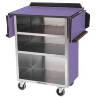 Lakeside 672P Stainless Steel Drop-Leaf Beverage Service Cart with 3 Shelves and Purple Laminate Finish - 33 1/8 inch x 21 inch x 38 1/4 inch
