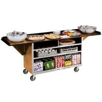 Lakeside 676LM Stainless Steel Drop-Leaf Beverage Service Cart with 3 Shelves and Light Maple Laminate Finish - 61 3/4 inch x 24 inch x 38 1/4 inch