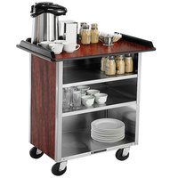 Lakeside 678RM Stainless Steel Beverage Service Cart with 3 Shelves and Red Maple Laminate Finish - 40 3/4 inch x 24 inch x 38 1/4 inch