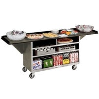 Lakeside 676BS Stainless Steel Drop-Leaf Beverage Service Cart with 3 Shelves and Beige Suede Laminate Finish - 61 3/4 inch x 24 inch x 38 1/4 inch