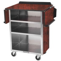 Lakeside 672RM Stainless Steel Drop-Leaf Beverage Service Cart with 3 Shelves and Red Maple Laminate Finish - 33 1/8 inch x 21 inch x 38 1/4 inch
