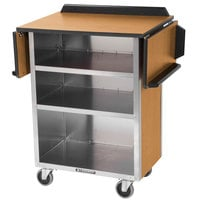 Lakeside 672LM Stainless Steel Drop-Leaf Beverage Service Cart with 3 Shelves and Light Maple Laminate Finish - 33 1/8 inch x 21 inch x 38 1/4 inch