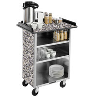 Lakeside 636GS Stainless Steel Beverage Service Cart with 3 Shelves and Gray Sand Laminate Finish - 30 1/4 inch x 21 inch x 38 1/4 inch