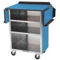 Lakeside 672BL Stainless Steel Drop-Leaf Beverage Service Cart with 3 Shelves and Royal Blue Laminate Finish - 33 1/8 inch x 21 inch x 38 1/4 inch