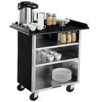 Lakeside 678B Stainless Steel Beverage Service Cart with 3 Shelves and Black Laminate Finish - 40 3/4 inch x 24 inch x 38 1/4 inch