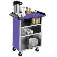Lakeside 681P Stainless Steel Beverage Service Cart with 3 Shelves and Purple Laminate Finish - 58 3/8 inch x 24 inch x 38 1/4 inch