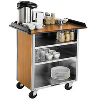 Lakeside 678LM Stainless Steel Beverage Service Cart with 3 Shelves and Light Maple Laminate Finish - 40 3/4 inch x 24 inch x 38 1/4 inch