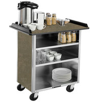 Lakeside 678BS Stainless Steel Beverage Service Cart with 3 Shelves and Beige Suede Laminate Finish - 40 3/4 inch x 24 inch x 38 1/4 inch