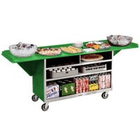 Lakeside 676G Stainless Steel Drop-Leaf Beverage Service Cart with 3 Shelves and Green Laminate Finish - 61 3/4 inch x 24 inch x 38 1/4 inch