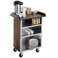 Lakeside 681W Stainless Steel Beverage Service Cart with 3 Shelves and Walnut Vinyl Finish - 58 3/8 inch x 24 inch x 38 1/4 inch
