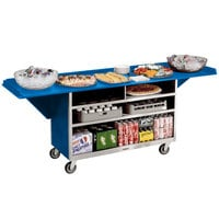 Lakeside 676BL Stainless Steel Drop-Leaf Beverage Service Cart with 3 Shelves and Royal Blue Laminate Finish - 61 3/4 inch x 24 inch x 38 1/4 inch