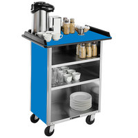 Lakeside 681BL Stainless Steel Beverage Service Cart with 3 Shelves and Royal Blue Laminate Finish - 58 3/8 inch x 24 inch x 38 1/4 inch