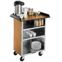 Lakeside 681LM Stainless Steel Beverage Service Cart with 3 Shelves and Light Maple Laminate Finish - 58 3/8 inch x 24 inch x 38 1/4 inch