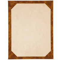 8 1/2 inch x 11 inch Brown Menu Paper - Angled Marble Border - 100/Pack