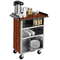 Lakeside 681VC Stainless Steel Beverage Service Cart with 3 Shelves and Victorian Cherry Laminate Finish - 58 3/8 inch x 24 inch x 38 1/4 inch