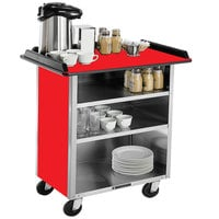 Lakeside 678RD Stainless Steel Beverage Service Cart with 3 Shelves and Red Laminate Finish - 40 3/4 inch x 24 inch x 38 1/4 inch