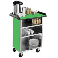 Lakeside 681G Stainless Steel Beverage Service Cart with 3 Shelves and Green Laminate Finish - 58 3/8 inch x 24 inch x 38 1/4 inch