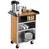 Lakeside 636LM Stainless Steel Beverage Service Cart with 3 Shelves and Light Maple Laminate Finish - 30 1/4 inch x 21 inch x 38 1/4 inch